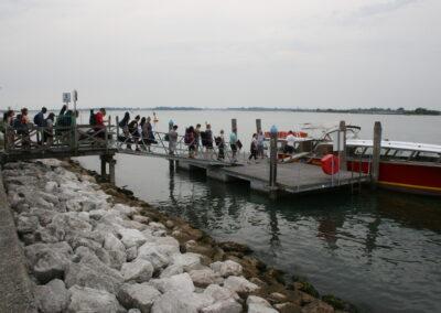 Boarding private boat in the Laguna
